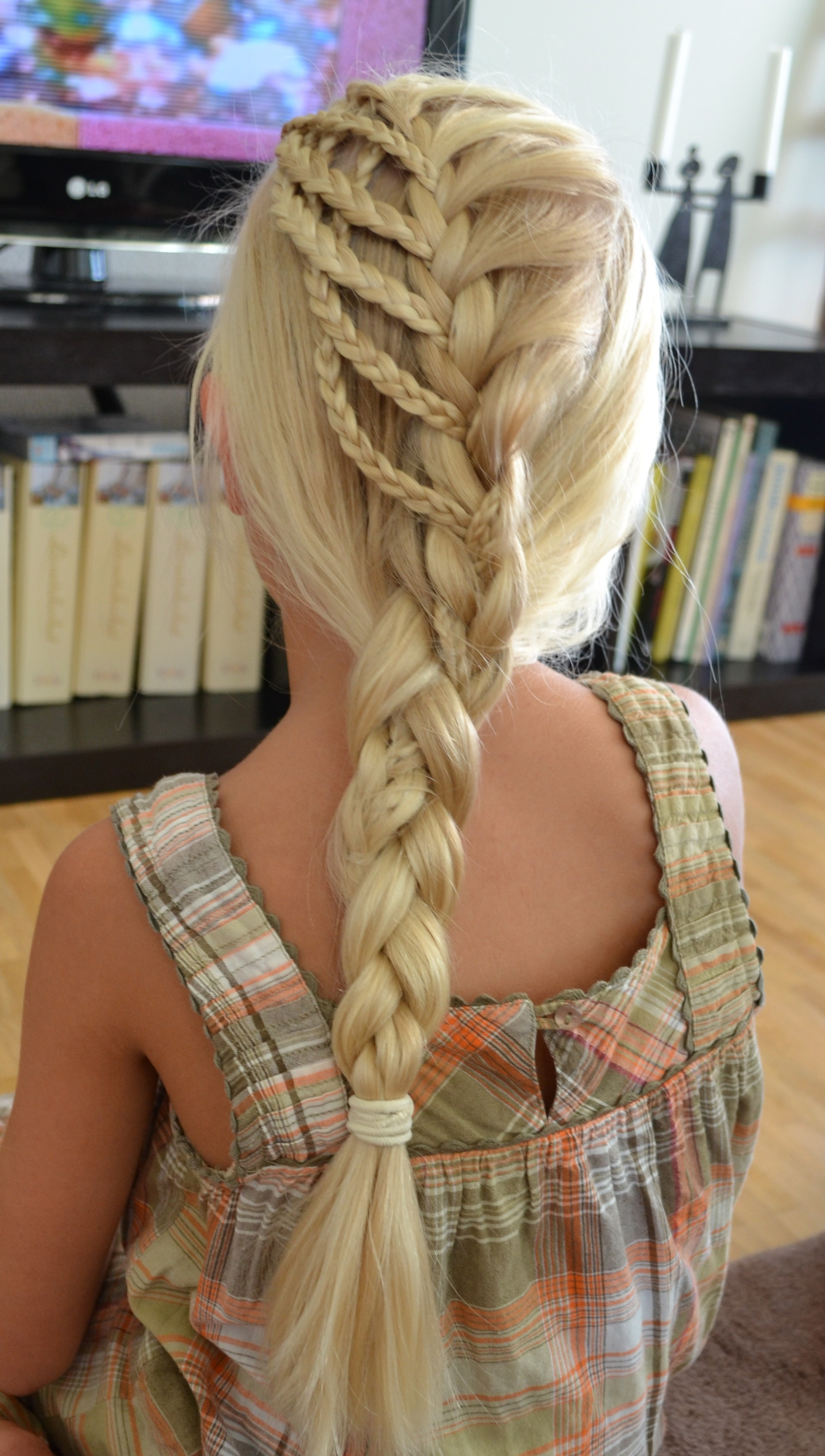 waterfall into little braids tied back