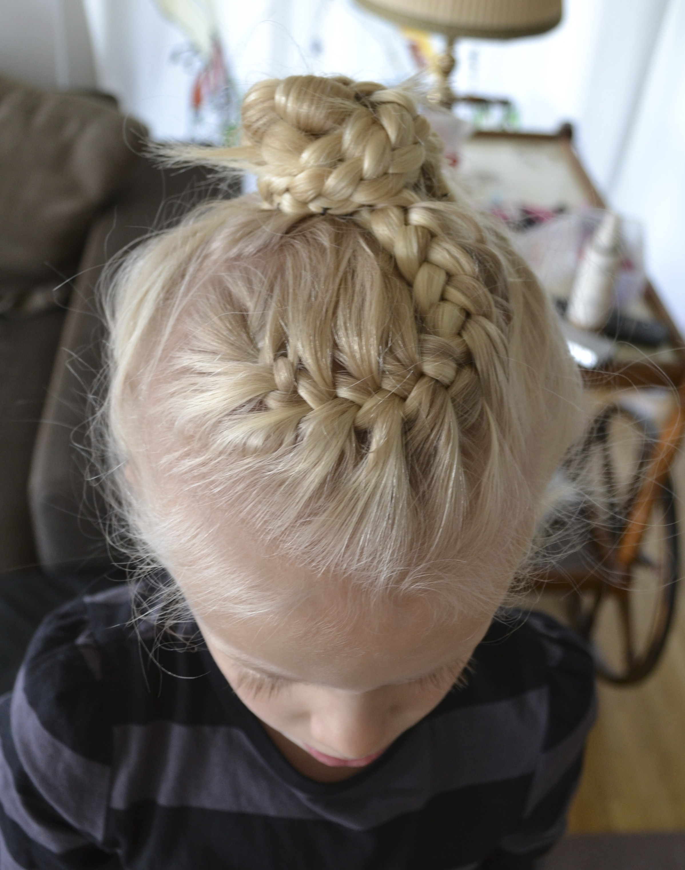 two french braids into a bun