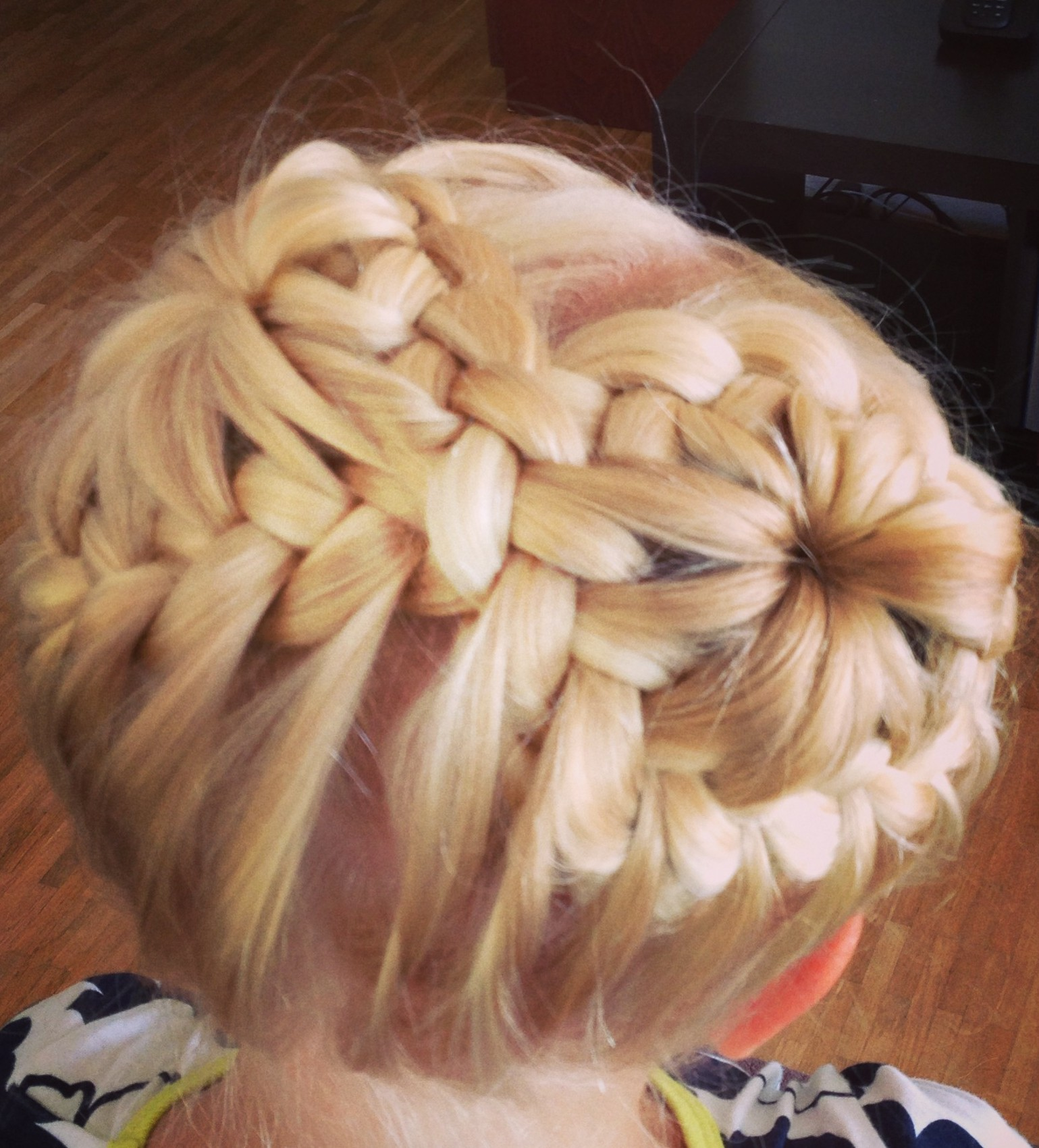 French Braid Head Band Into Two Buns