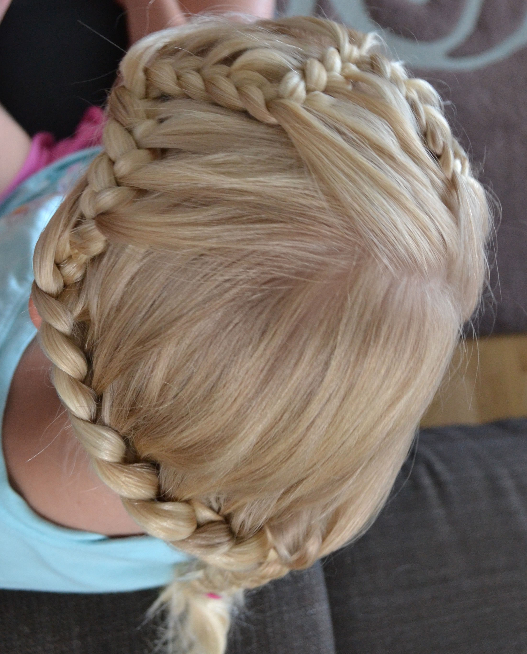 zigzag lace braid headband into single braid updo