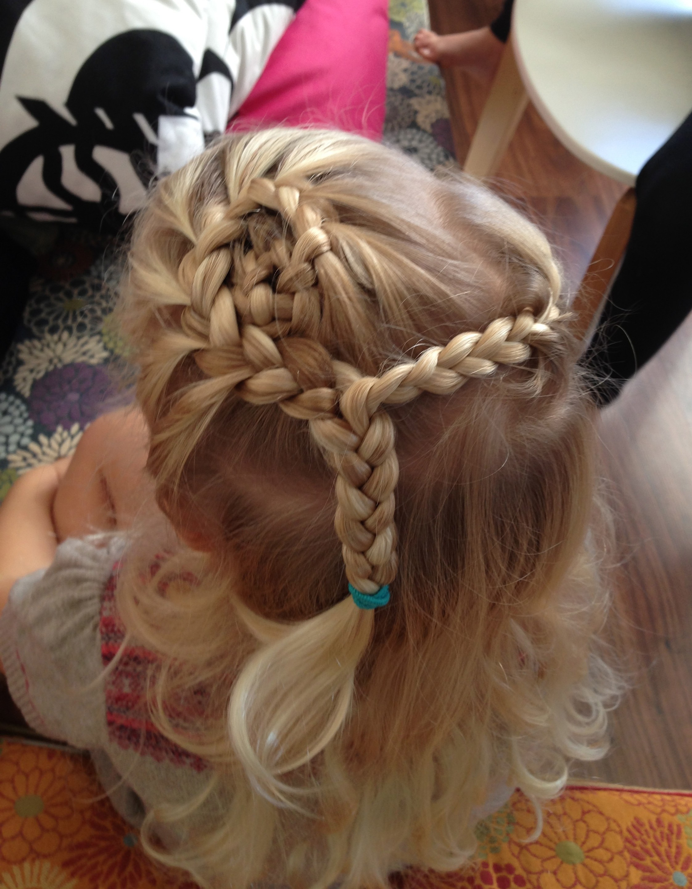 flower braid spiral half up hairdo