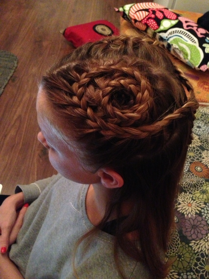 spiral braids tied together at the back