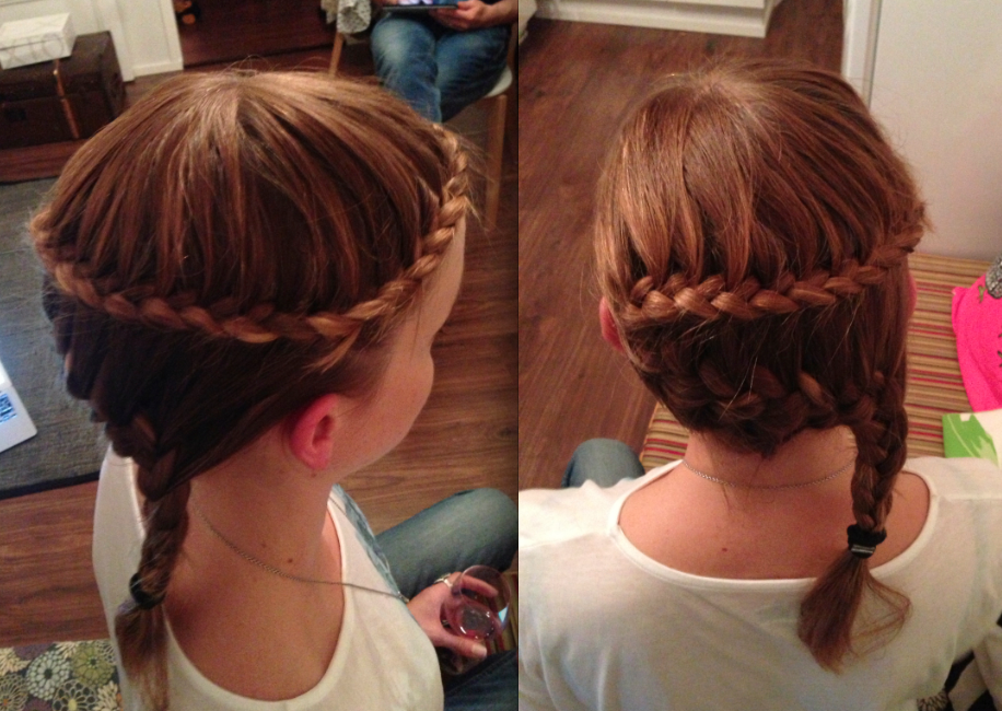 Lace braid around the head into a french braid