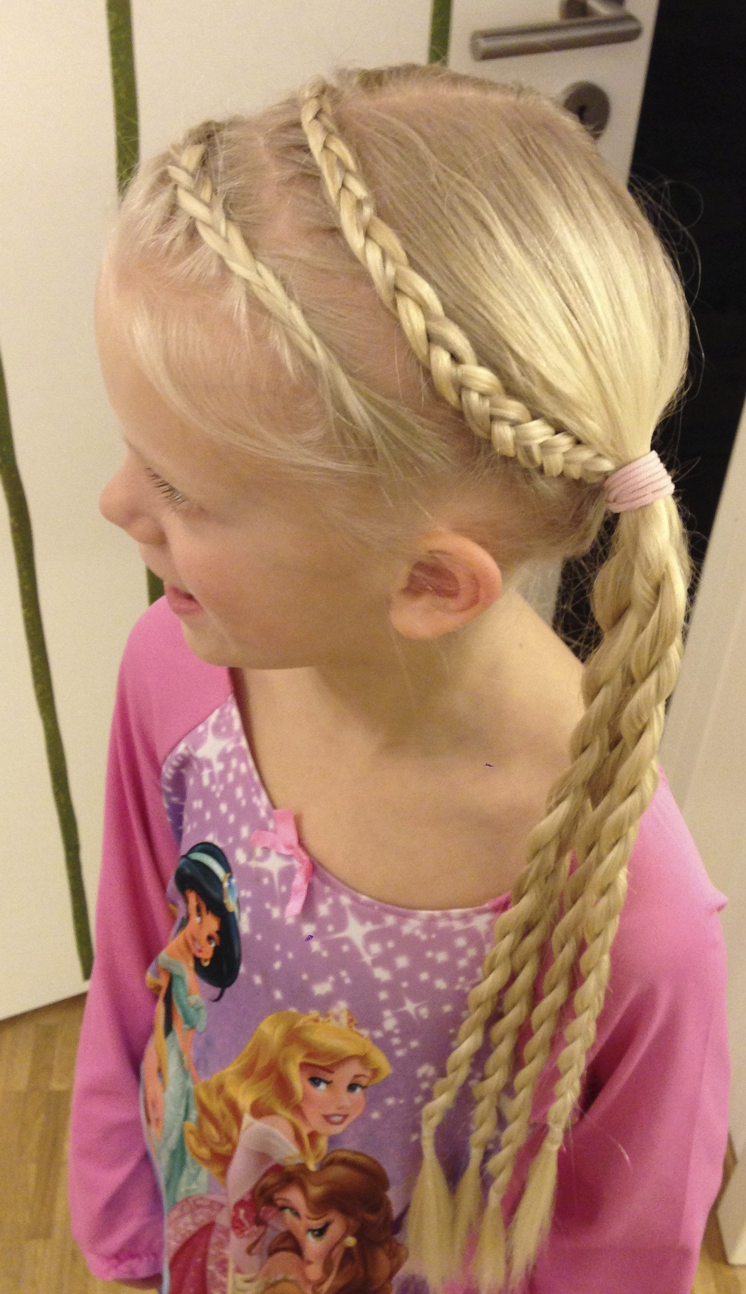 two dutch braid headbands into pigtails and mini twists