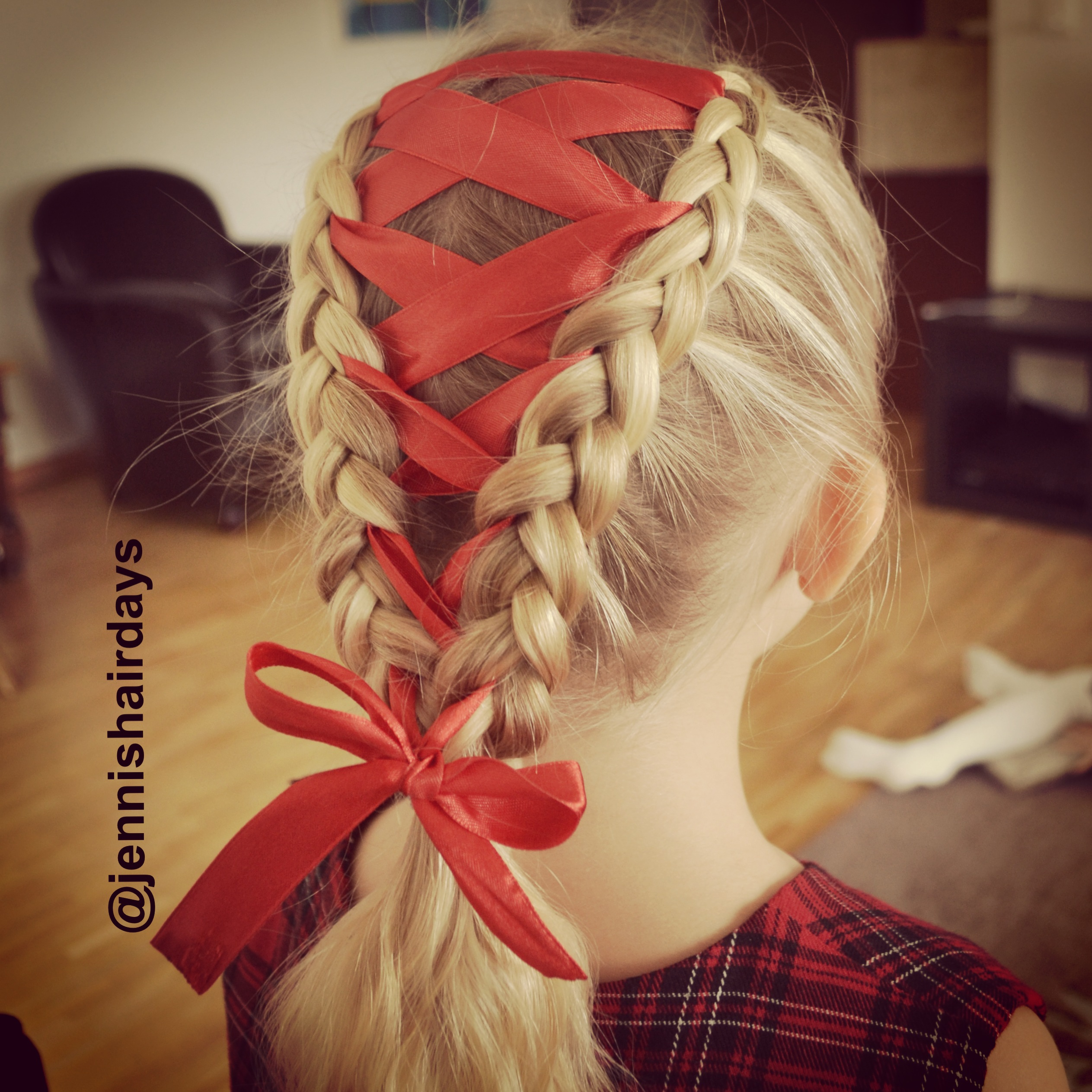 Ribbon dutch braids