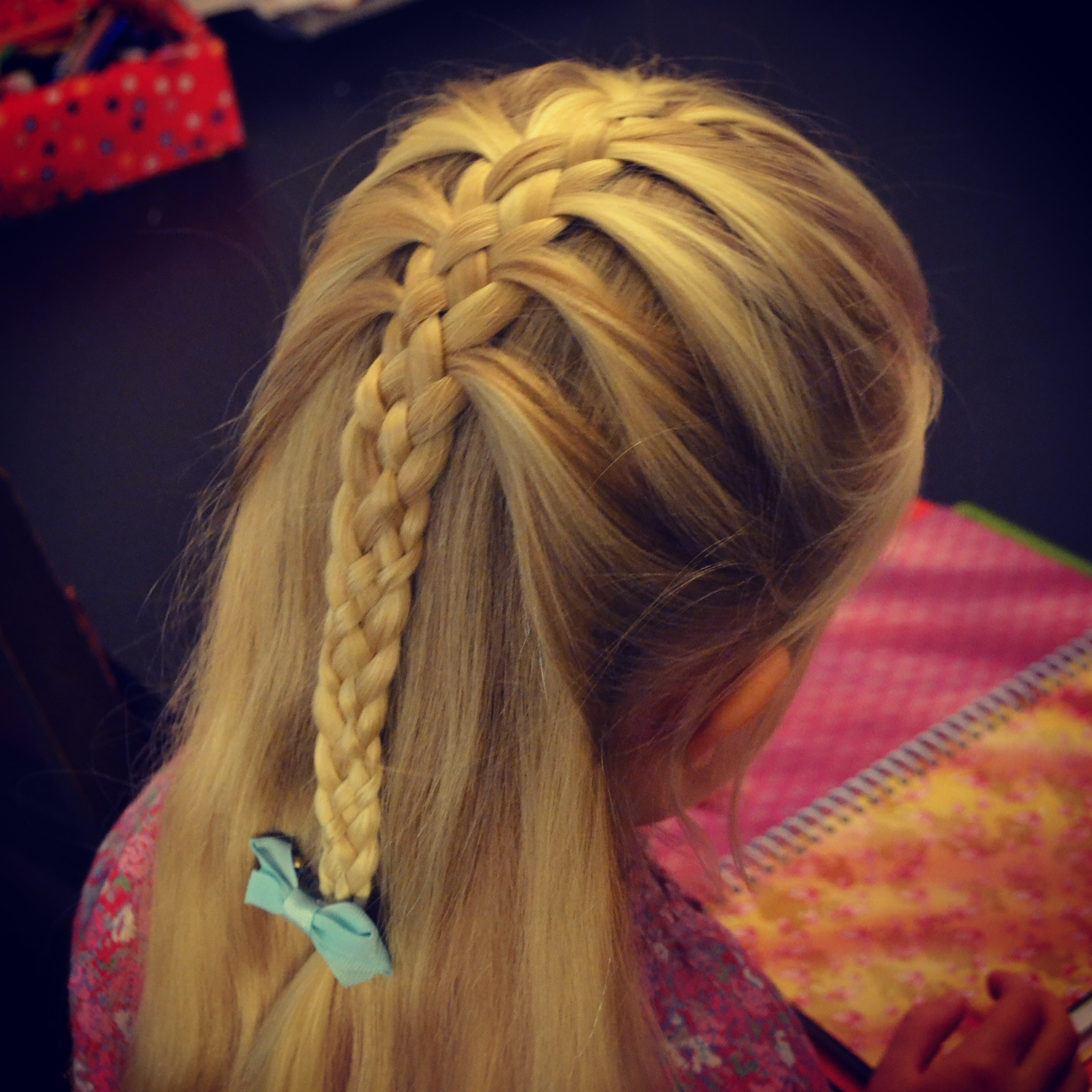5-strand mermaid braid half-up-do