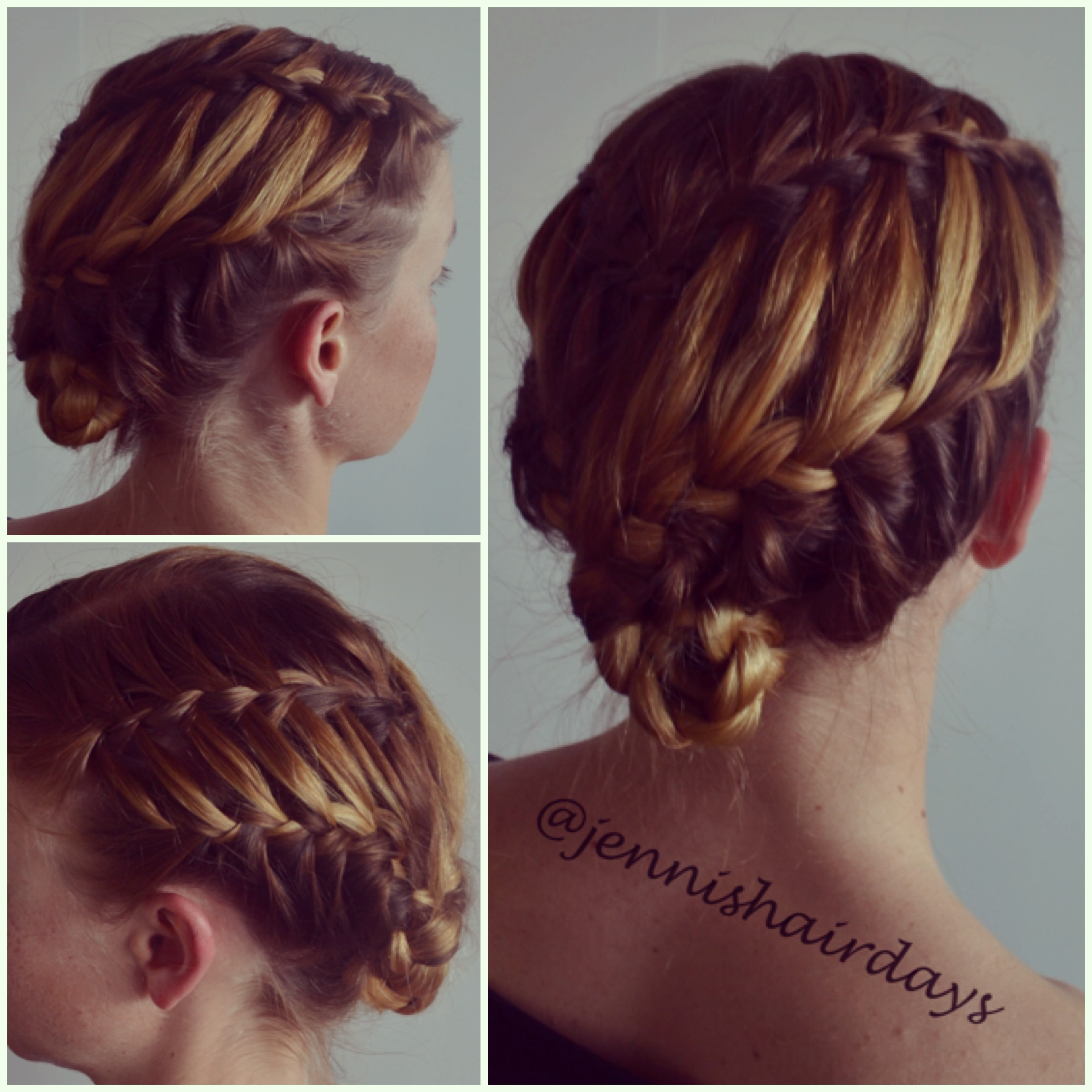 A waterfall braid into a ladder braid updo