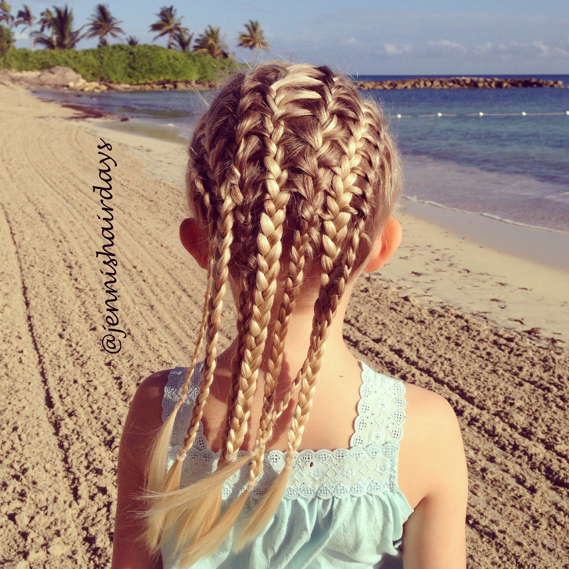 Interlocking french braids, french braid feather braid combo