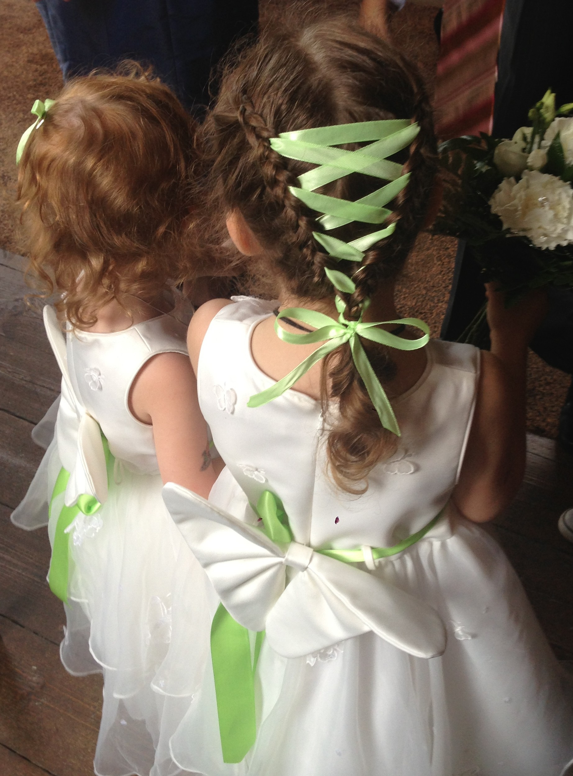 corset braid on flower girl