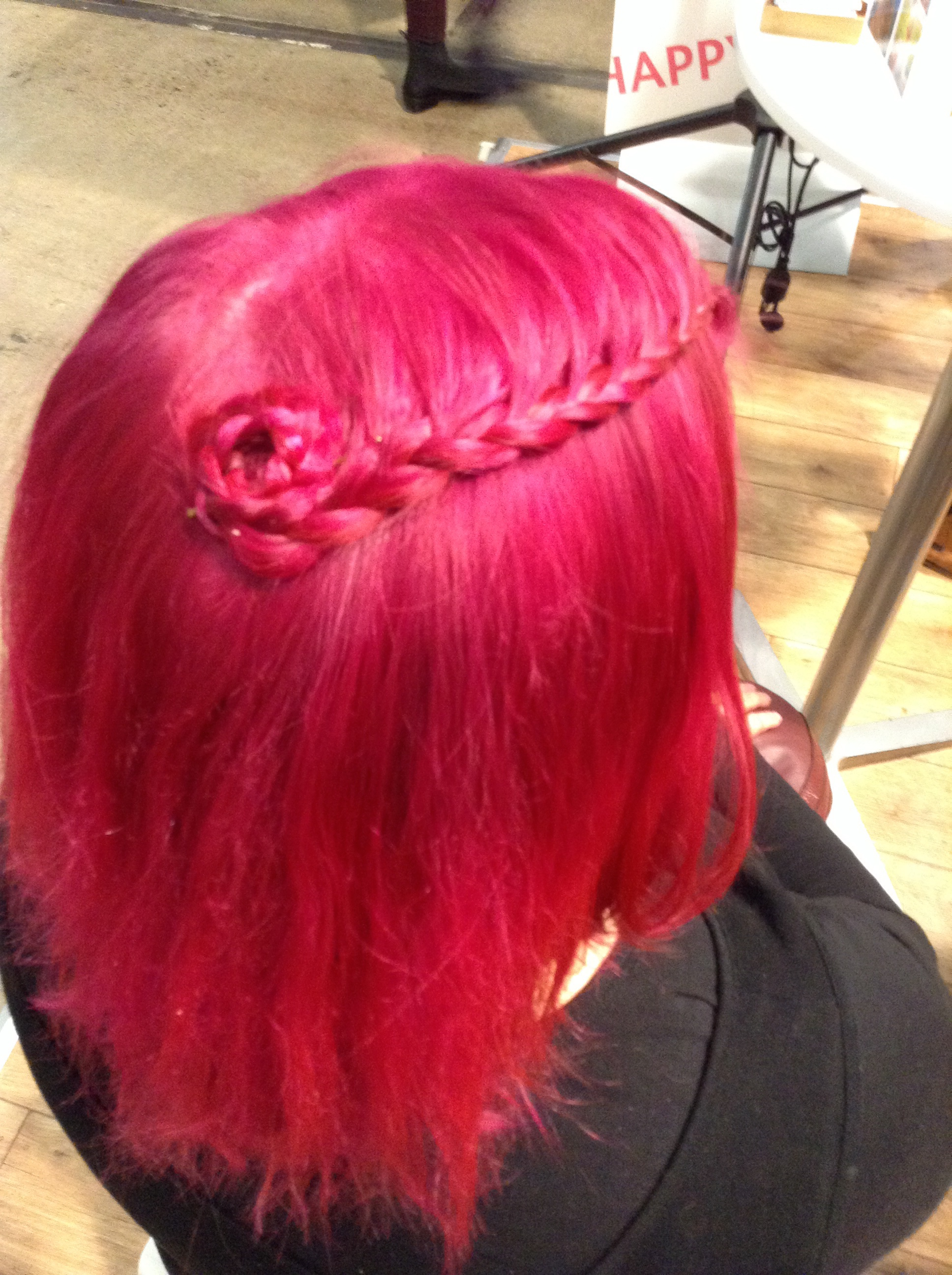 lace braid, rosette, short hair, pink hair