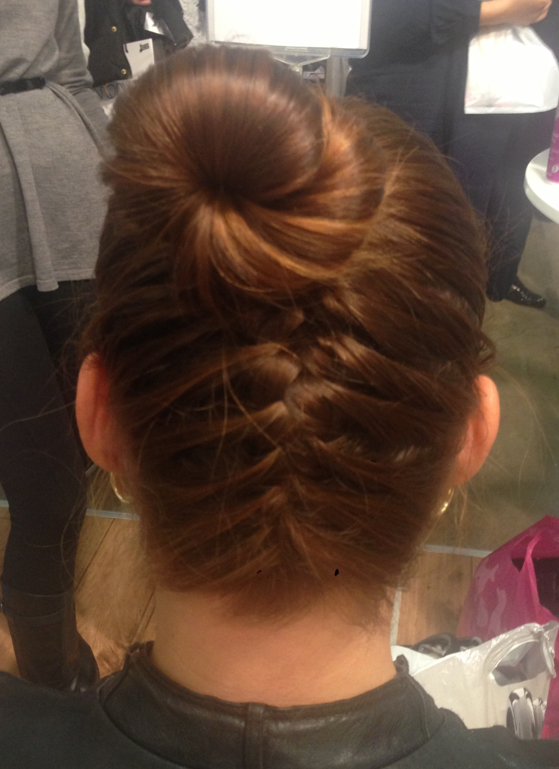 frenchbraid into a bun, braided hairstyle