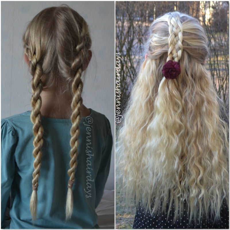 ropetwist and 5-strand mermaid braid