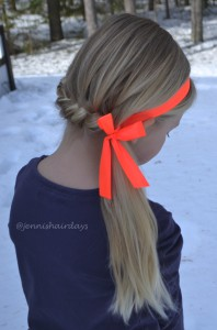 French braid with ribbon