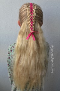 four strand lace braids with ribbon
