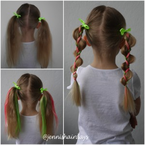 Uneven pigtails, looney braids, colourful ponytails, hair mascara.