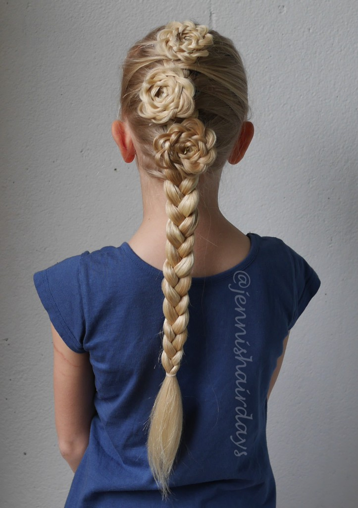 rosettes and a french braid