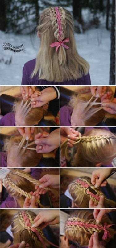 four strand ribbon braid pictorial
