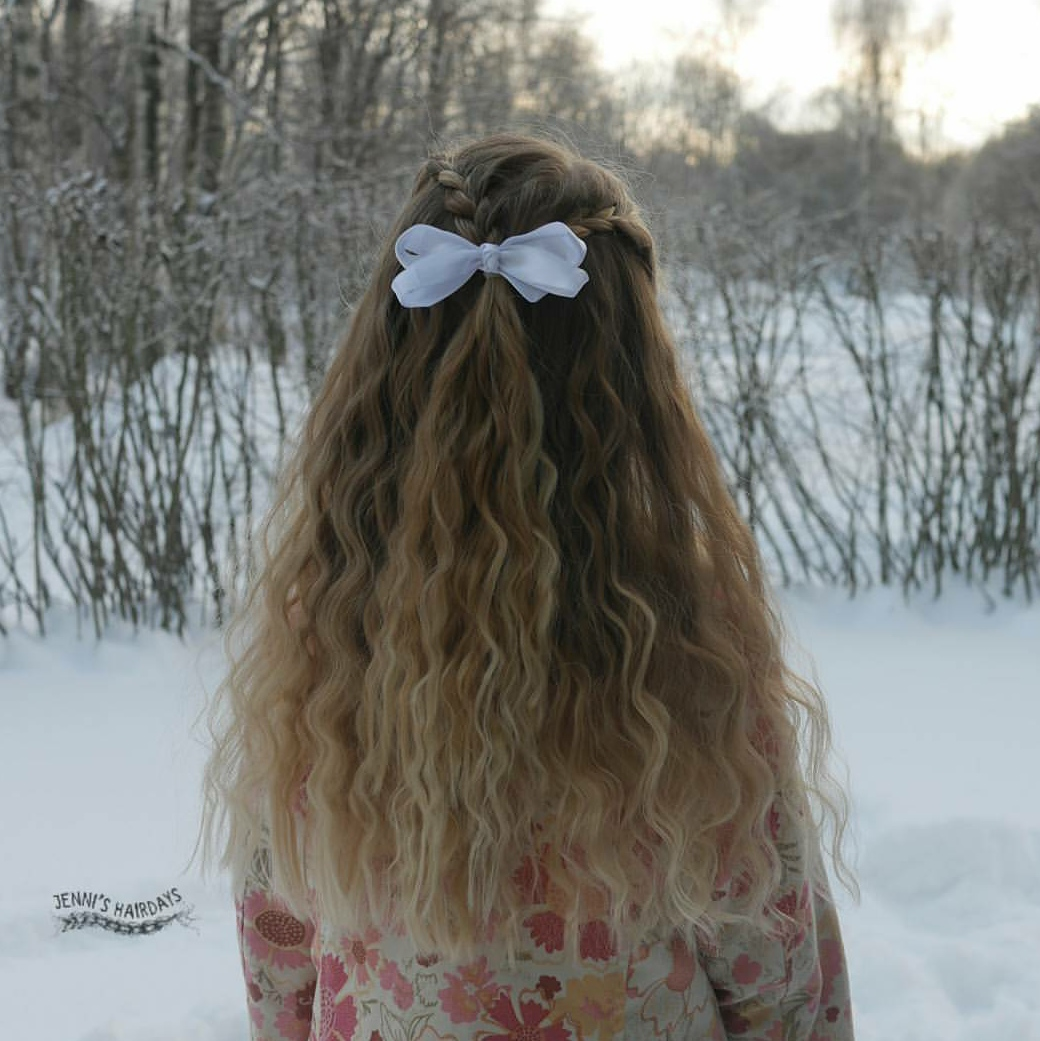 braid curls and a bow