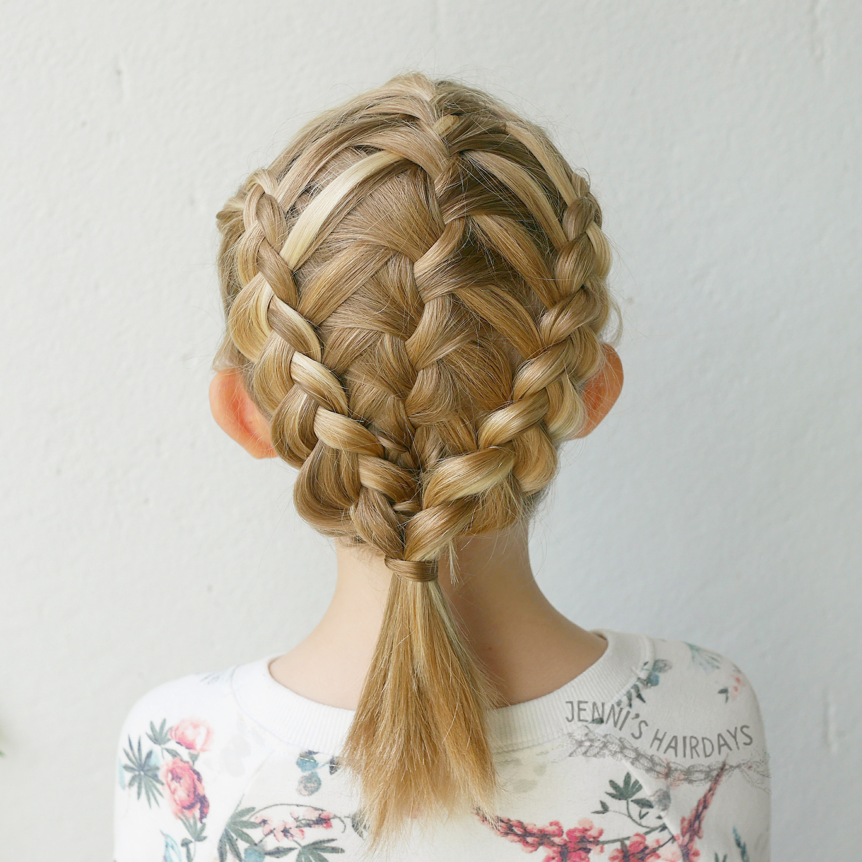 two sided waterfall into dutch braids for short hair