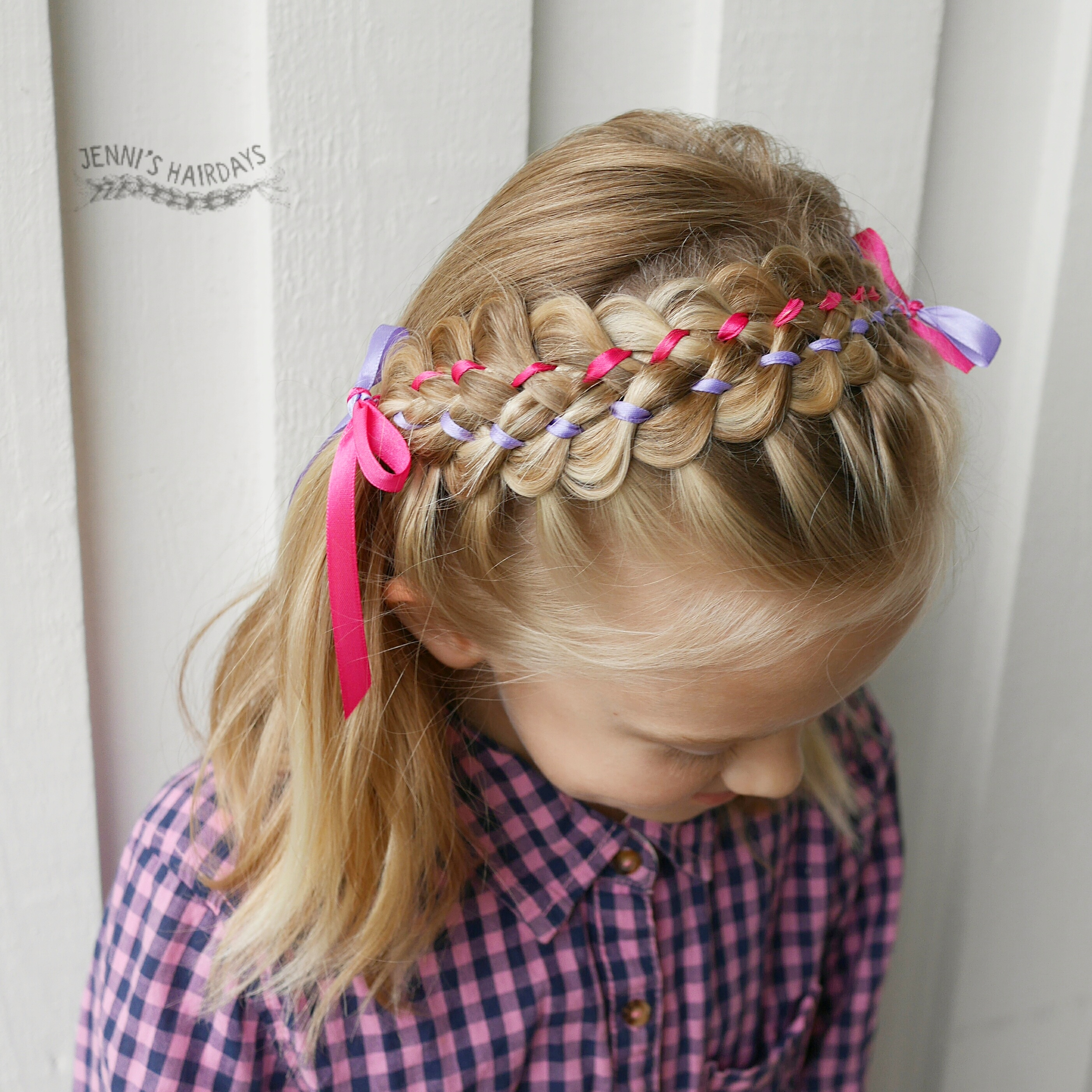 braided headband, 7-strand ribbon braid