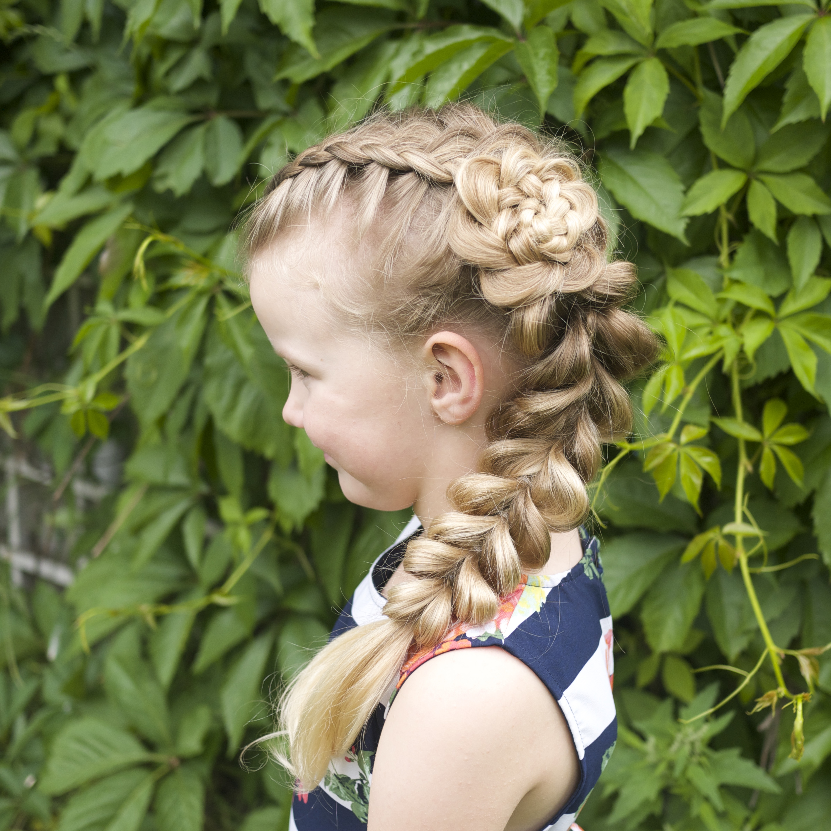 flower braid and a pull-through braid