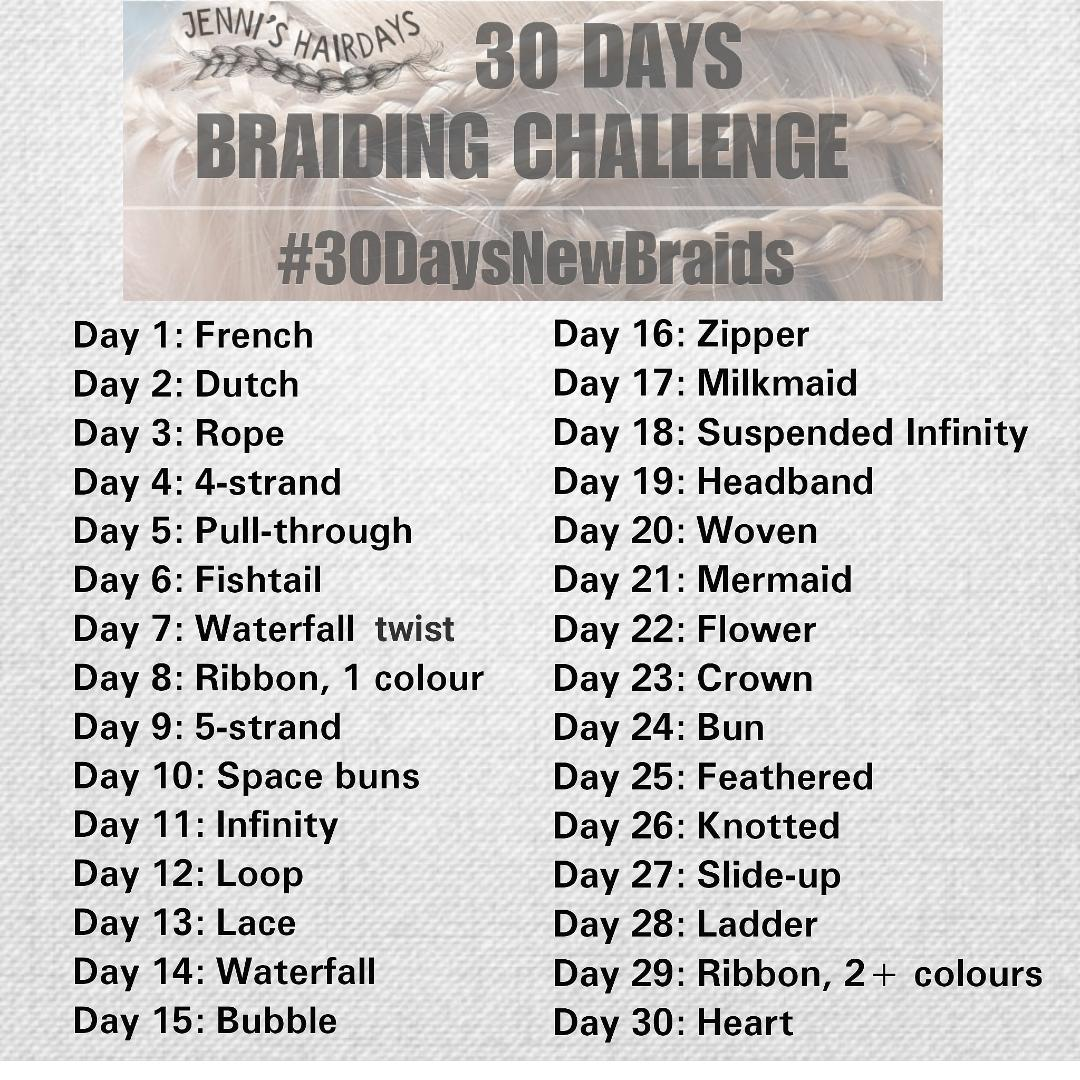 List of braids for 30 day braiding challenge